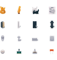 guitar parts icon set vector image vector image