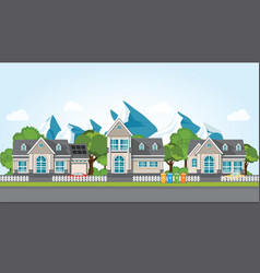modern family house on mountain againt the blue vector image vector image
