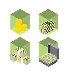 Money icons isometric style vector image