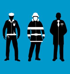 policeman doctor fireman flat icons service 911 vector image vector image