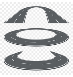 Set of curved asphalt road in perspective highway vector
