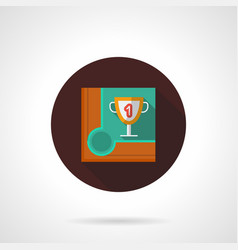 snooker championship flat brown round icon vector image vector image