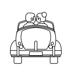 couple car honeymoon travel outline vector image