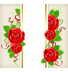 Decorative card with red roses vector image