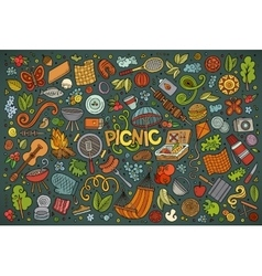 Doodle cartoon set of picnic objects vector
