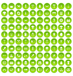 100 barbecue icons set green circle vector