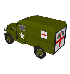 3d a military medicle vehicle on a white vector
