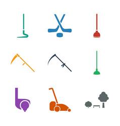 9 grass icons vector