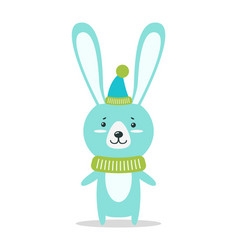 Adorable hare in warm cone hat and knitted scarf vector