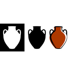 ancient amphora image in brown color and vector image
