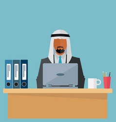 arab middle eastern businessman at his workplace vector image