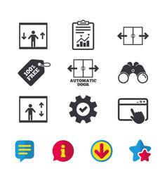 Automatic door icons elevator symbols vector