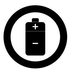 battery icon black color in circle vector image