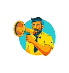 Bearded Hipster Man With Megaphone WPA vector