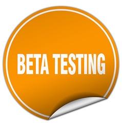 Beta testing round orange sticker isolated on vector