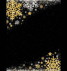 Black christmas background with frame of golden vector