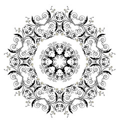Black floral ornament round vector