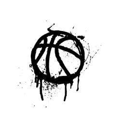 Black grunge basketball vector