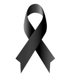 Black ribbon mourning symbol isolated vector