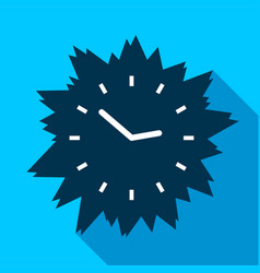 Blue modern clock without numbers icon flat style vector