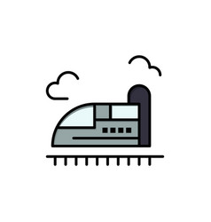 Bullet train high speed flat color icon icon vector