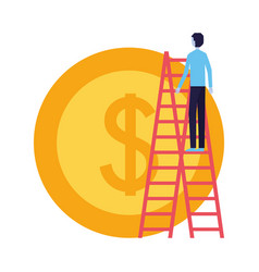 businessman climbing stairs and coin money vector image