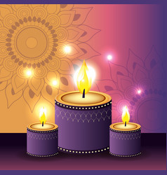 Candles lits with flowers mandalan and lights vector