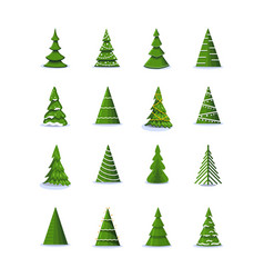 christmas tree in different styles set of vector image