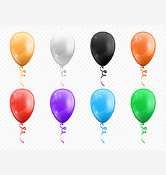 color balloons isolated party decor objects set vector image