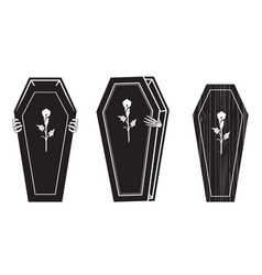 creepy coffin halloween icon set 2 vector image