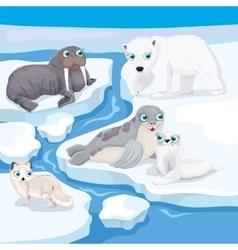Cute Cartoon Nort Animals vector image vector image