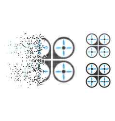 Decomposed pixel halftone copter icon vector