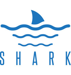 Design template shark fin and waves vector