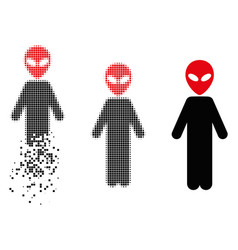 Disappearing pixel halftone alien icon vector