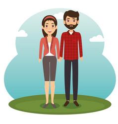 diversity couple standing design vector image
