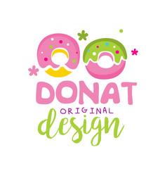 donut original logo design emblem vector image