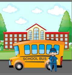 Driver driving school bus vector