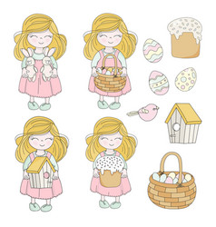 easter set great religious holiday girl characters vector image