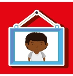 Face boy framed picture hanging vector