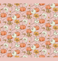 fall pumpkin seamless pattern fairy tale nursery vector image