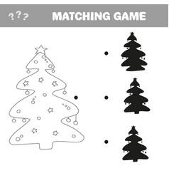 find correct shadow christmas tree vector image