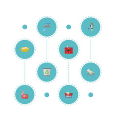 flat icons foam garbage container housewife and vector image