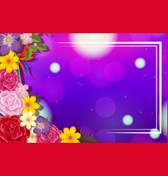 Frame template design with colorful flowers vector