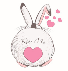 funny rabbit and heart tale kiss me vector image