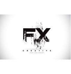 Fx f x grunge brush letter logo design in black vector
