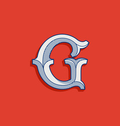 G letter logo in classic sport team style vector