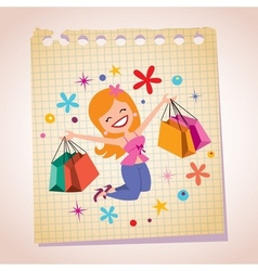 girl shopping note paper cartoon vector image
