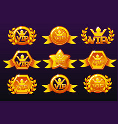 gold templates vip icons for awards creating vector image