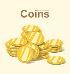 Golden coin stack gold money pile flat design vector