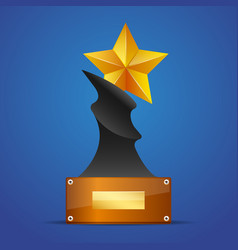 Golden star award on blue vector